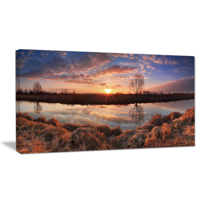 Designart Sunrise Above Spring River Landscape Photo Canvas Art Print
