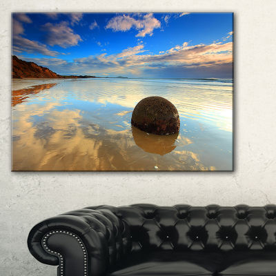 Design Art Sunrise At Moeraki Boulders Seashore Photo Canvas Art Print