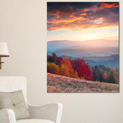 Designart Sunrise In Carpathian Mountains Landscape Photography Canvas Print - 3 Panels