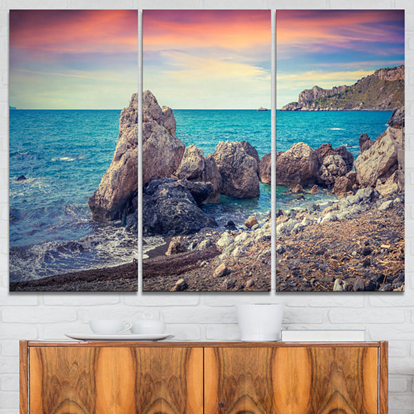 Designart Sunrise In Spring Panorama Seashore Photo Canvas Art Print - 3 Panels