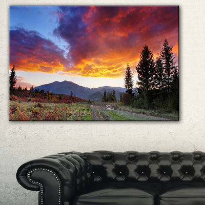 Designart Sunrise Over Mountain Panorama LandscapePhotography Canvas Print - 3 Panels