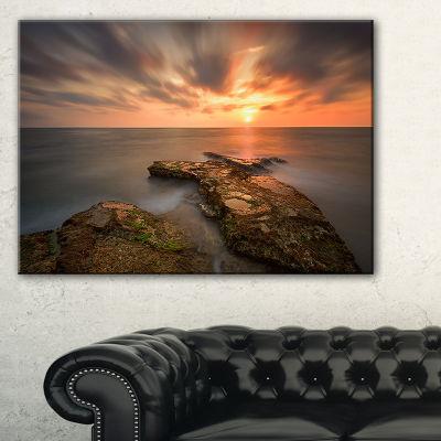 Designart Sunset At Atlantic Coast Spain SeascapePhotography Canvas Art Print - 3 Panels