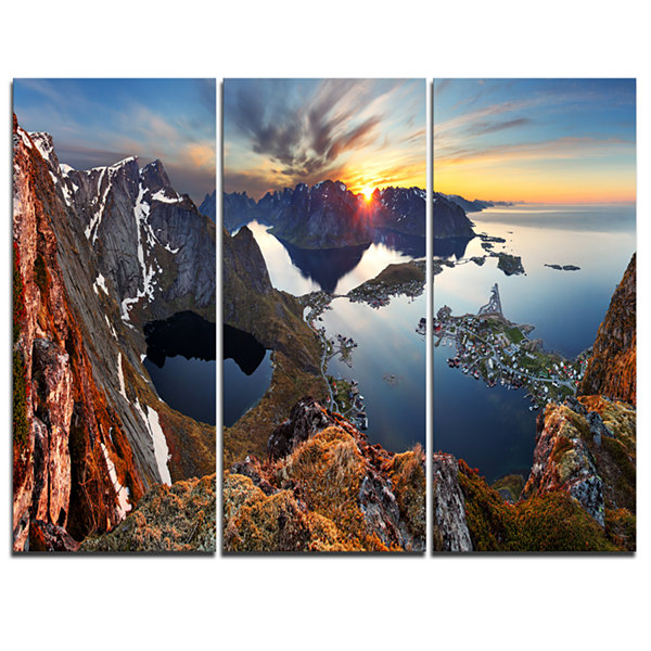 Designart Sunset At Rocky Mountains Norway Landscape Photography Canvas Print - 3 Panels