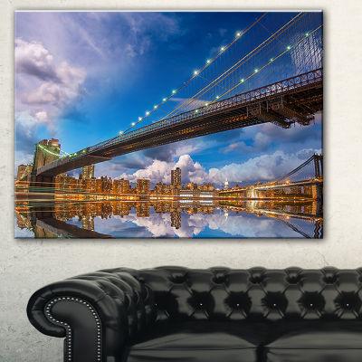 Designart Sunset Over Brooklyn Bridge Cityscape Photo Canvas Print - 3 Panels