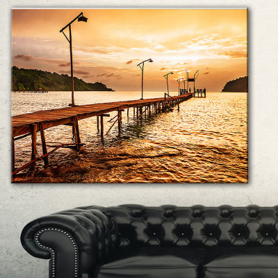 Designart Sunset Over Brown Sea Seascape Canvas Art Print