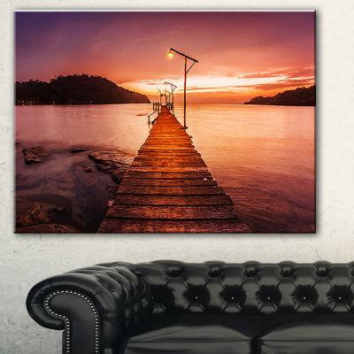 Designart Sunset Over Purple Sea Seascape CanvasArt Print