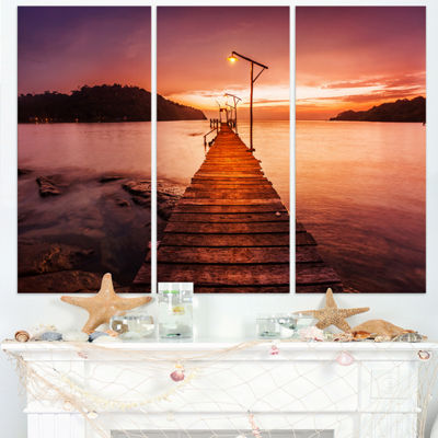 Designart Sunset Over Purple Sea Seascape CanvasArt Print - 3 Panels