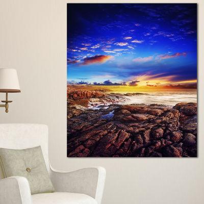 Designart Sunset Over The Ocean Seascape Photography Canvas Art Print - 3 Panels