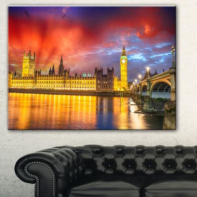 Designart Sunset View Of London Skyline CityscapePhoto Canvas Print - 3 Panels