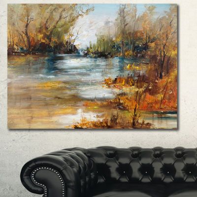 Designart Surface Of Lake In Forest Landscape Painting Canvas Print