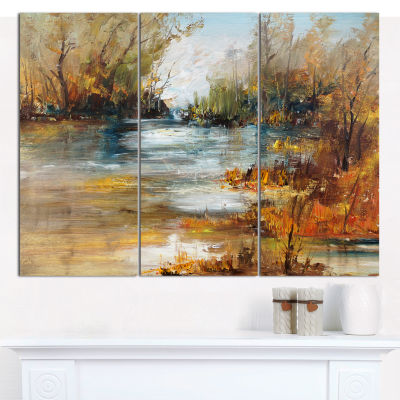 Designart Surface Of Lake In Forest Landscape Painting Canvas Print - 3 Panels