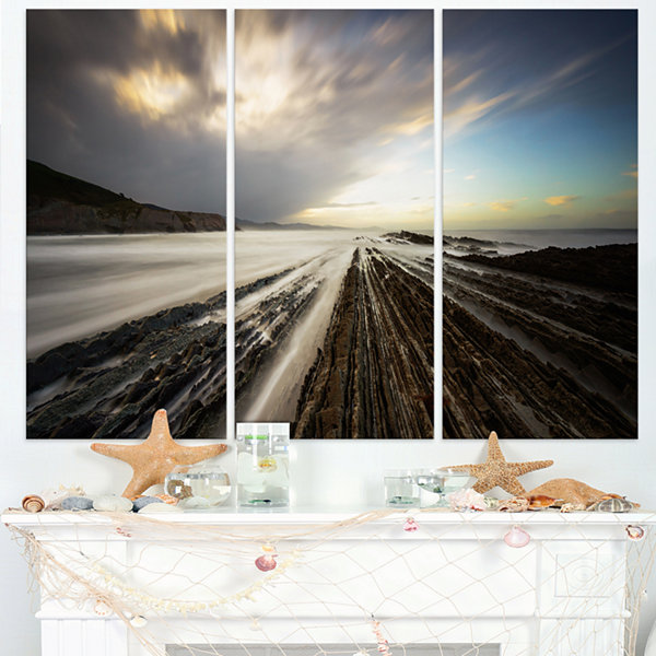 Designart Surreal Atlantic Ocean Coast Seashore Photo Canvas Art Print - 3 Panels