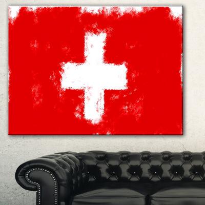 Designart Switzerland Flag Illustration Flag Painting Canvas Print