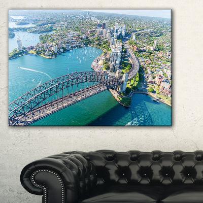 Designart Sydney Aerial View Cityscape PhotographyCanvas Art Print - 3 Panels