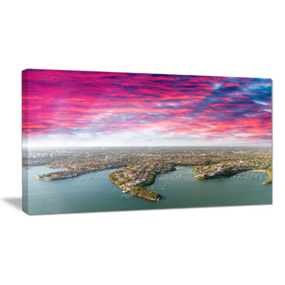Designart Sydney Under Red Cloud Cityscape PhotoCanvas Art Print