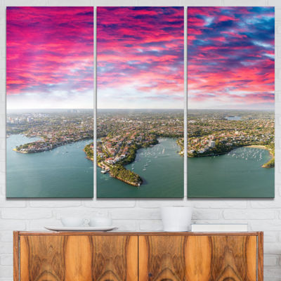 Designart Sydney Under Red Cloud Cityscape PhotoCanvas Art Print - 3 Panels