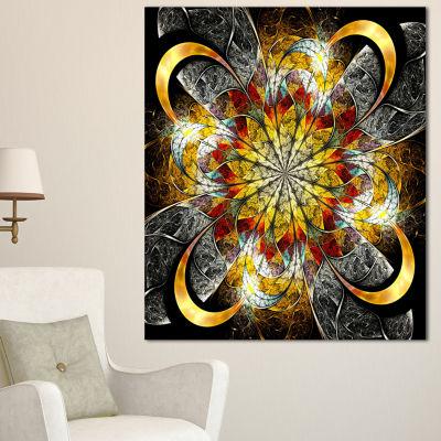Designart Symmetrical Golden Flower Floral Art Canvas Print - 3 Panels