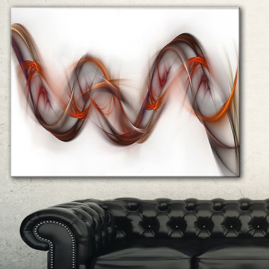 Designart Tangled Brown Silver Waves Abstract Canvas Art Print