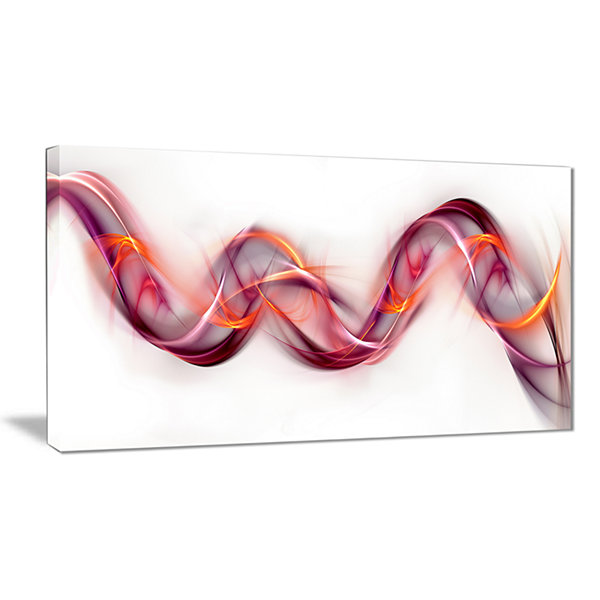 Designart Tangled Pink Gold Waves Abstract CanvasArt Print