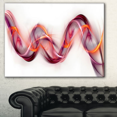 Designart Tangled Pink Gold Waves Abstract CanvasArt Print - 3 Panels
