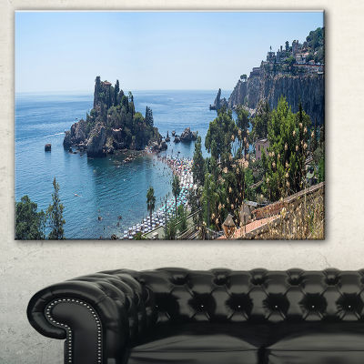 Designart Taormina Island Panoramic View LandscapePhotography Canvas Print - 3 Panels
