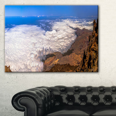 Designart Teide View Panoramic Seascape Canvas ArtPrint - 3 Panels
