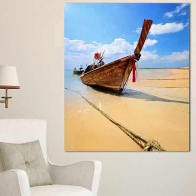 Designart Thai Long Tail Boat Beach And Shore Canvas Art Print - 3 Panels