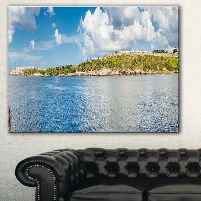 Designart The Bay Of Havana Panorama Seascape Canvas Art Print - 3 Panels