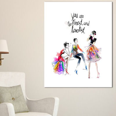 Designart Three Pretty Fashion Girls Abstract Portrait Canvas Print