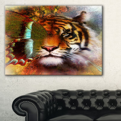 Designart Tiger With Butterfly Wings Animal CanvasArt Print - 3 Panels