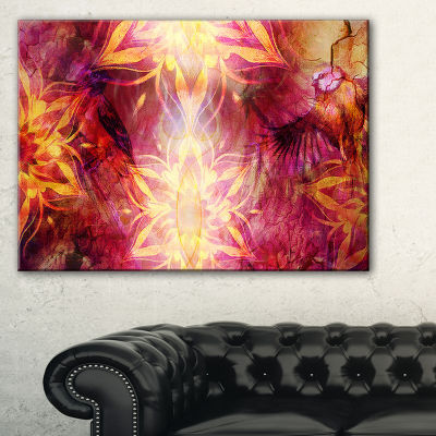 Designart Titmouse Birds And Golden Mandala Abstract Art