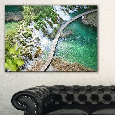Designart Tourist Path In Plitvice Lakes LandscapePhoto Canvas Art Print