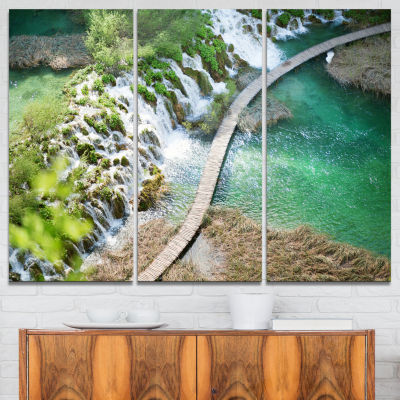 Designart Tourist Path In Plitvice Lakes LandscapePhoto Canvas Art Print - 3 Panels