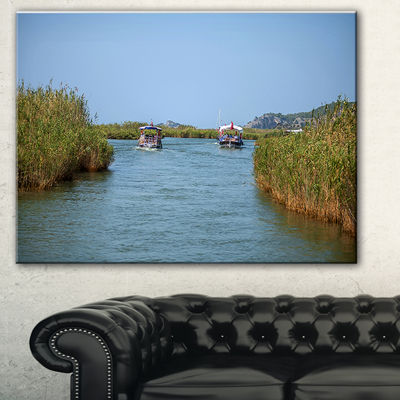 Designart Touristic River Boats Landscape Photography Canvas Art Print - 3 Panels