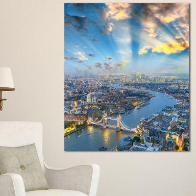 Designart Tower Bridge Area And City Light Cityscape Photo Canvas Print - 3 Panels