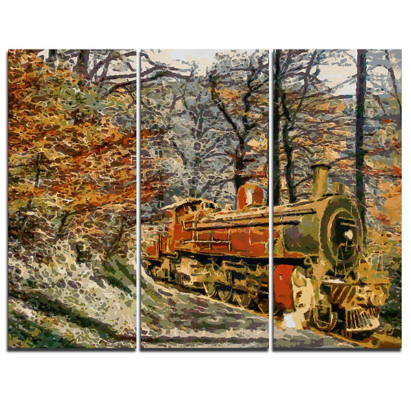 Designart Train In Forest Oil Painting LandscapePainting Canvas Print - 3 Panels
