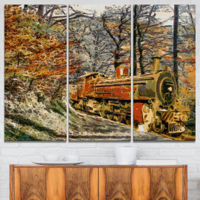 Designart Train In Forest Oil Painting Landscape Painting Canvas Print - 3 Panels
