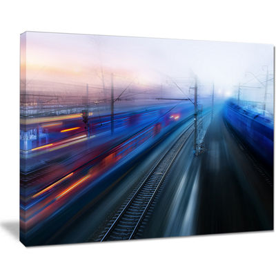 Designart Train Movements At Twilight Landscape Photography Canvas Print