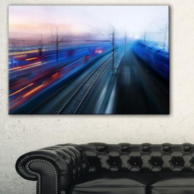 Designart Train Movements At Twilight Landscape Photography Canvas Print - 3 Panels