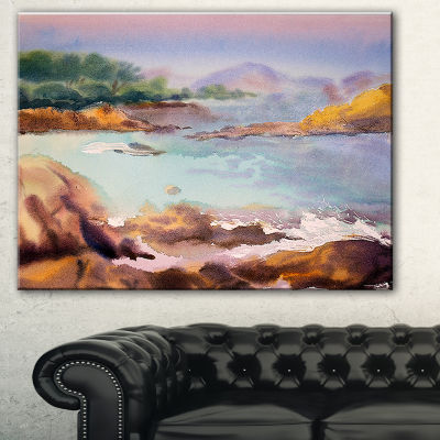 Designart Tranquil Watercolor Waters Seascape Canvas Art Print - 3 Panels