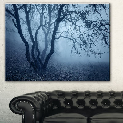 Designart Tree In Foggy Dark Forest Landscape Photography Canvas Print