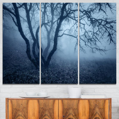 Designart Tree In Foggy Dark Forest Landscape Photography Canvas Print - 3 Panels