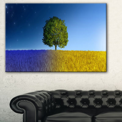 Designart Tree In Night And Day Landscape CanvasArt Print