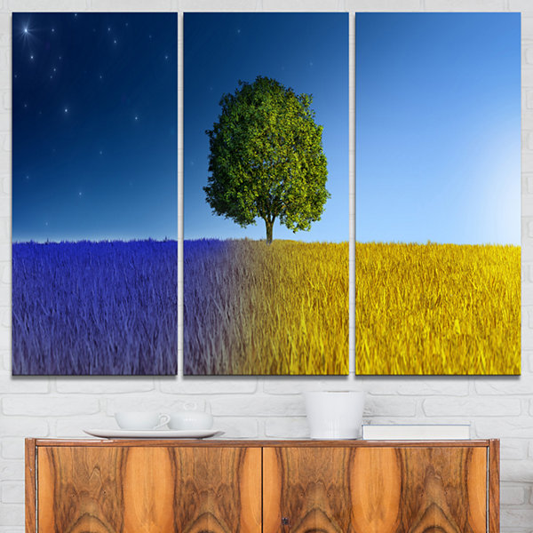 Designart Tree In Night And Day Landscape CanvasArt Print - 3 Panels