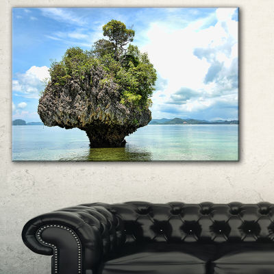 Designart Tree Island In Summer Landscape Photography Canvas Art Print - 3 Panels