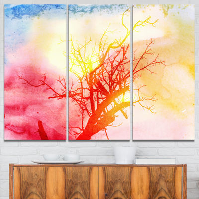 Designart Tree With Colorful Smoke Trees PaintingCanvas Art Print - 3 Panels