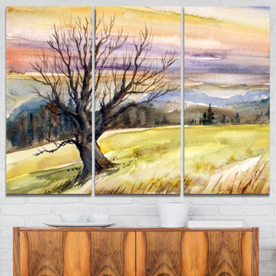 Designart Tree Without Leaves At Sunset Trees Painting Canvas Art Print - 3 Panels