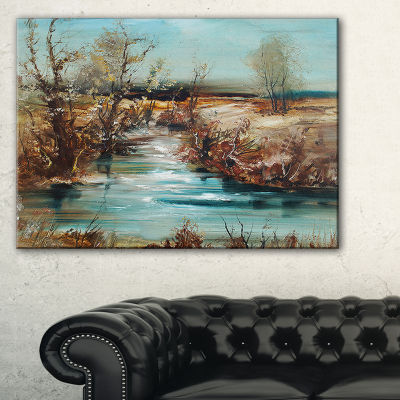 Designart Trees And Creek Oil Painting LandscapePainting Canvas Print