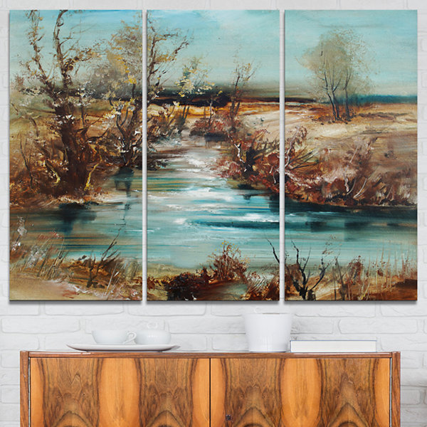 Designart Trees And Creek Oil Painting LandscapePainting Canvas Print - 3 Panels