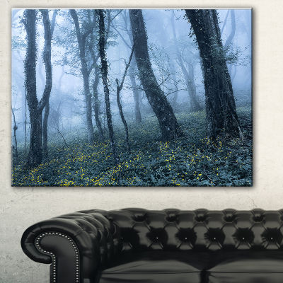 Designart Trees In Foggy Spring Forest Landscape Photography Canvas Print